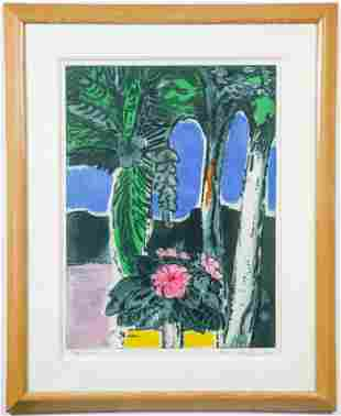 "Karl Schrag ""Blue Arches"" Etching & Aquatint, 1979"