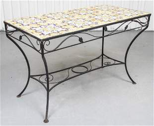 Italian Painted Tile and Wrought Iron Dining Table