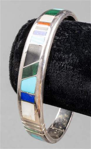 Navajo Silver Multi-Stone Inlay Bangle Bracelet