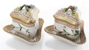"Royal Copenhagen ""Flora Danica"" Jam Pots, Pair"