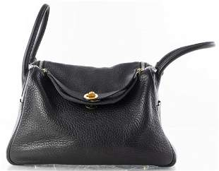 Hermes Black Clemence Leather Lindy 30cm Handbag