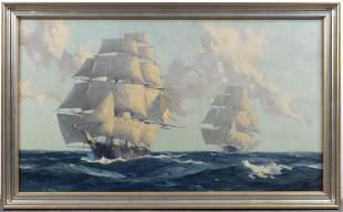 """Gordon Grant """"Clipper Ships"""" Oil on Board"""