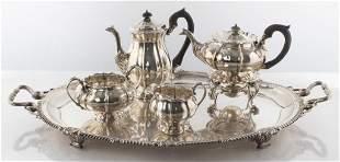 English Georgian Silver Tea Service, 19th C.