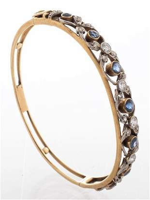Edwardian 14K Diamond & Sapphire Bangle Bracelet