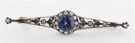 Edwardian 14K Diamond & Sapphire Filigree Bar Pin