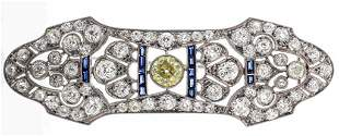Art Deco Platinum Yellow Diamond & Sapphire Brooch