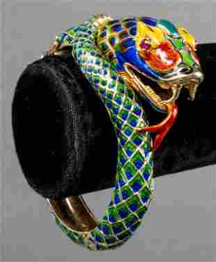 14K Gold Ruby & Enamel Snake Bangle Bracelet