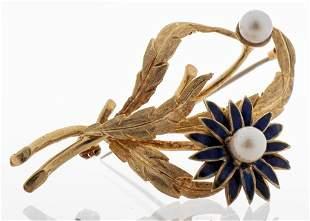 18K Yellow Gold Pearl & Enamel Floral Brooch
