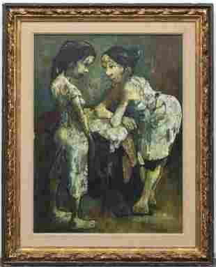 "Jean Jansem ""Two Figures"" Oil on Canvas"