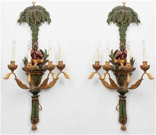 Venetian Rococo Parcel Gilt Figural Wall Sconces