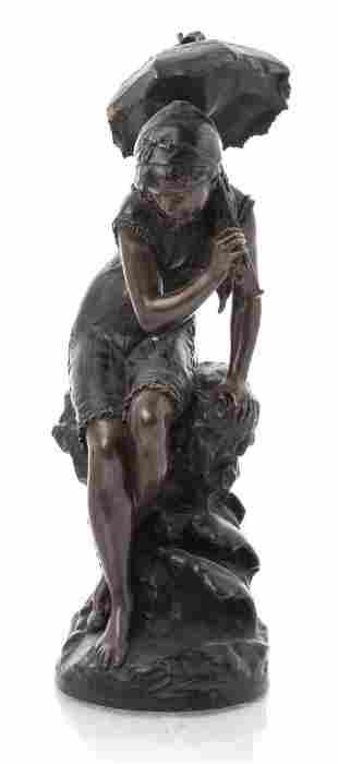 """Mathurin Moreau """"Girl with Umbrella"""" Bronze"""