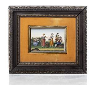 "Italian ""Grape Pickers"" Micromosaic Plaque"