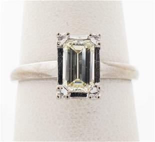 Art Deco 14K White Gold Emerald Cut Diamond Ring