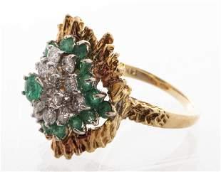 14K Yellow Gold Diamond & Emerald Cluster Ring