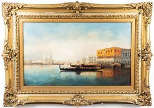 Illegibly Signed Venetian Canal Scene Oil