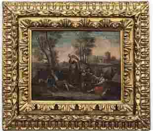 Continental School Genre Scene Oil on Canvas