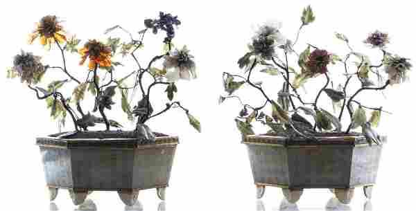 Chinese Carved Hardstone Flowering Trees, Pair