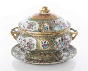 Chinese Rose Medallion Porcelain Covered Tureen