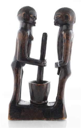 West African Carved Wood Figural Group Sculpture