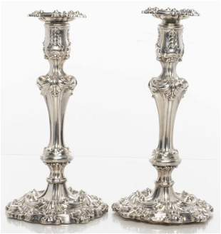 Sheffield Antique Silver Rococo Candlesticks 1834