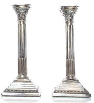 English Judaica Sterling Silver Candlesticks, Pr
