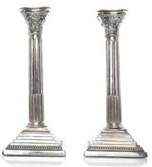 English Judaica Sterling Silver Candlesticks, Pr