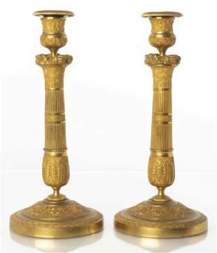 Empire Style Gilt Bronze Candlesticks, Pair