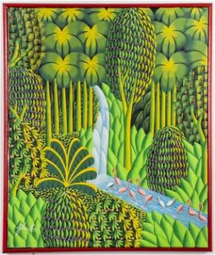 Joel Gauthier Haitian Landscape Oil on Canvas
