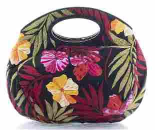 Oscar De La Renta Embroidered Floral Handbag