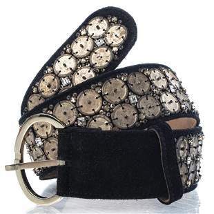 Oscar de la Renta Embellished Black Suede Belt