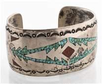 Navajo Silver Turquoise & Coral Inlay Cuff Bangle
