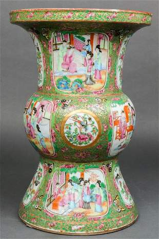 Chinese Export Rose Medallion Porcelain Gu Vase