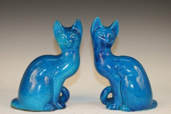 Pair of Ceramic Cat Sculptures ca. 1960s