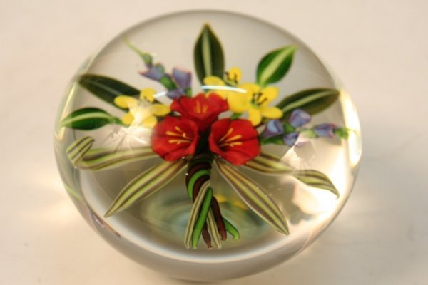 Glass Flower & Leave Paperweight by Ayotte 1987