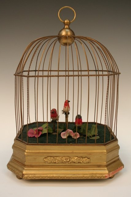Singing Birds in Cage Music Box Early 20th C.