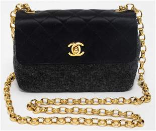Chanel Black Satin And Grey Felt Handbag