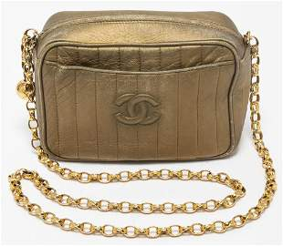 Chanel Gold-Tone Metallic Leather Camera Handbag