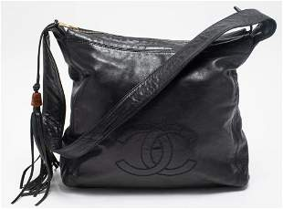 Chanel Black Leather Tote Handbag