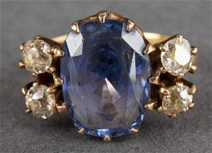 Edwardian 18K Yellow Gold Diamond & Sapphire Ring