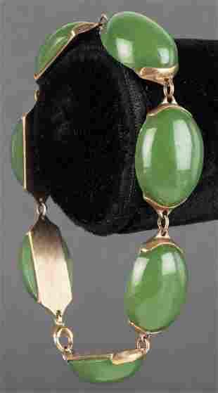 Vintage 14K Yellow Gold Oval Jade Link Bracelet