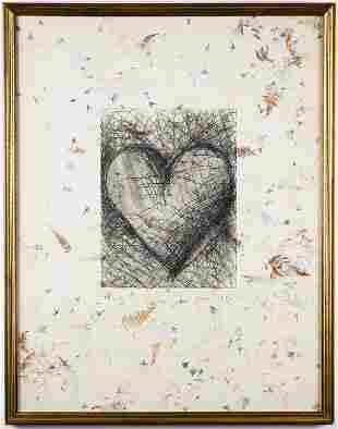 "Jim Dine ""The Jewish Heart"" Etching, 1982"