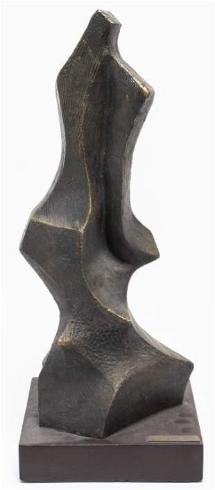 """Fuerza"" Modern Patinated Bronze Sculpture"