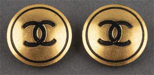 Chanel Gold Tone Circle Logo Clip-On Earrings