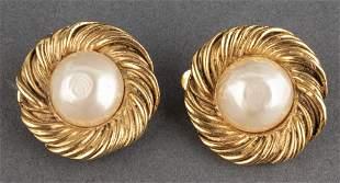 Vintage Chanel Faux Baroque Pearl Earrings, Pair