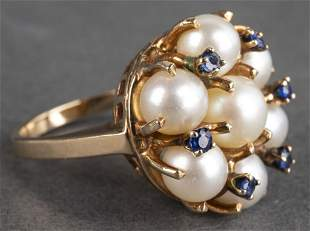 Vintage 14K Yellow Gold Pearl & Sapphire Ring