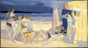 """Camille Hilaire """"The Bathers"""" Wool Tapestry"""