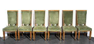Art Deco Fruitwood Upholstered Dining Chairs, 6