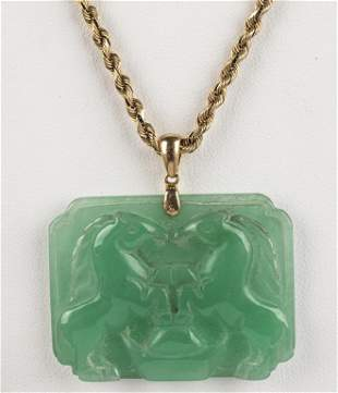 Asian 14K Yellow Gold And Jade Pendant Necklace