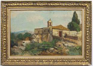Illegibly Signed Continental School Oil on Board