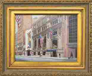 "William B Jonas ""New York Yacht Club"" Oil on Panel"